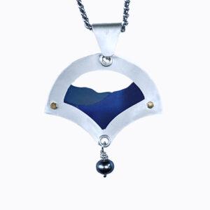 blue ridge parkway necklace, argentium silver and colored titanium blue ridge parkway necklace
