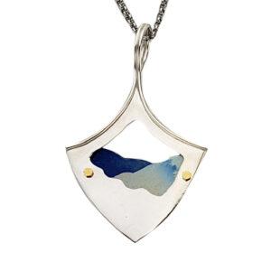 artentium silver and colored titanium handmade blue ridge parkway necklace