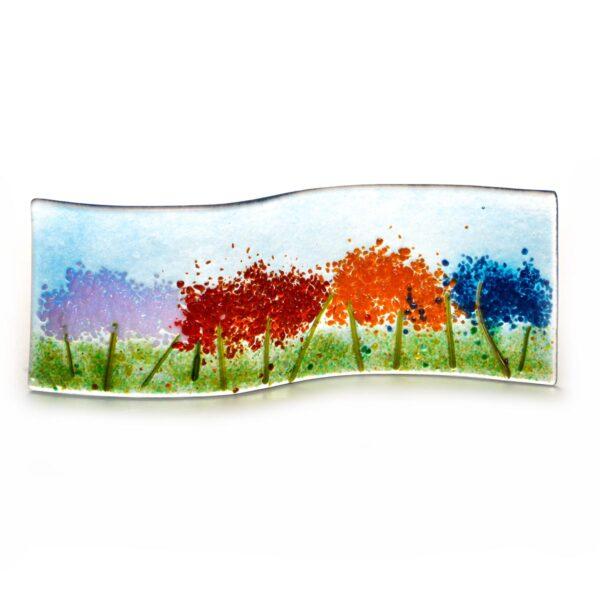 glass floral landscape, glass colorful tabletop sculpture