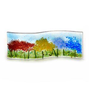glass floral landscape, small tabletop glass flower sculpture