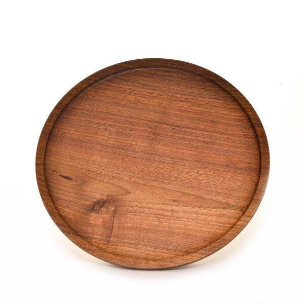 black walnut handmade turned tray, black walnut platter