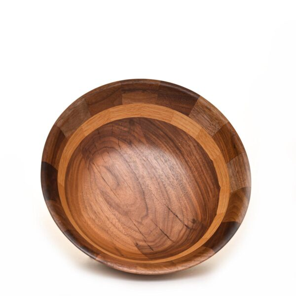 black walnut and oak turned and segmented wooden bowl