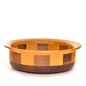 low wide segmented wood bowl