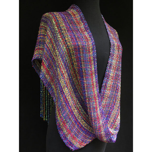 rainbow purple red and yellow handwoven swoop shawl