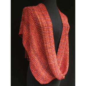 red orange and yellow handwoven swoop shawl