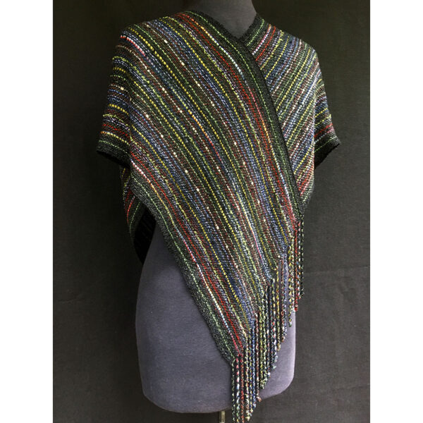 back view of black multicolor handwoven swoop shawl