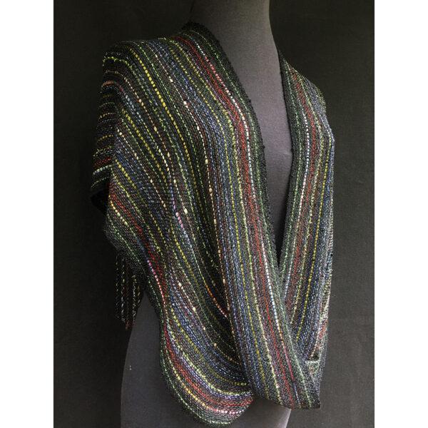 black multicolor handwoven swoop shawl