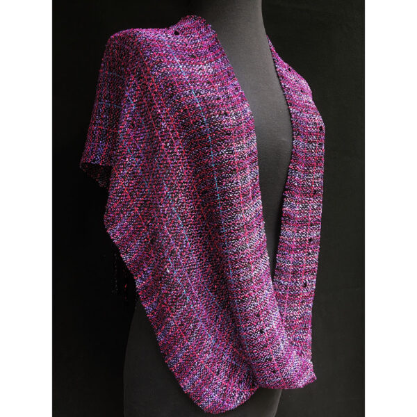 violet and black swoop, hand woven on Darla Beverage's loom, yarn by yarn.  Each piece has been washed and is hand washable.