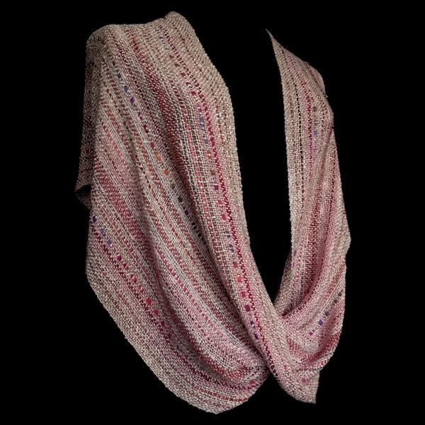 light pink handwoven cotton swoop shawl