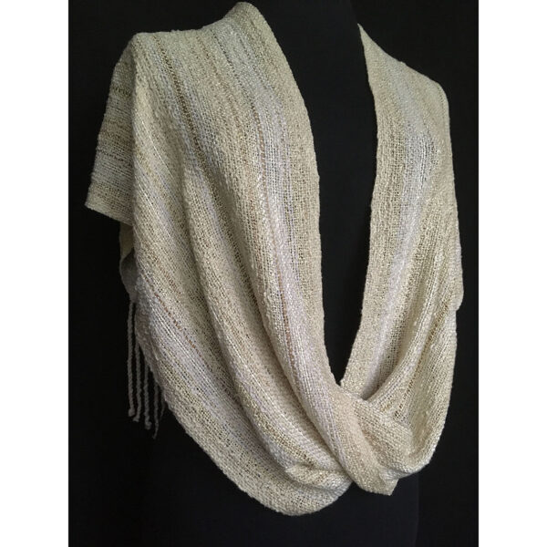off white handwoven swoop shawl
