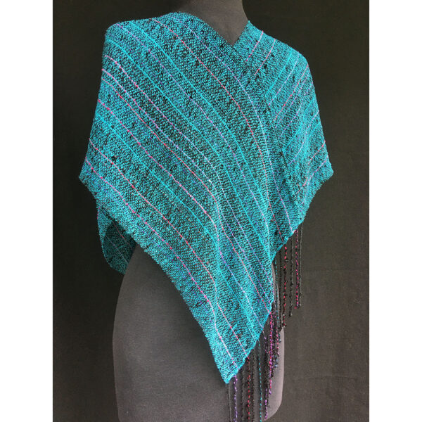 back view of handwoven draped shawl