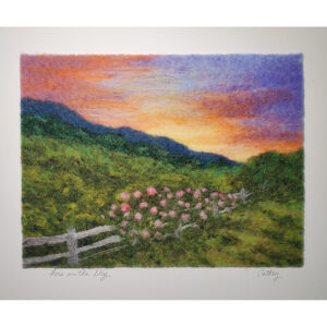 Fire in the Sky mountain sunset felted landscape