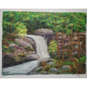 Mountain Waterfall green felted landscape