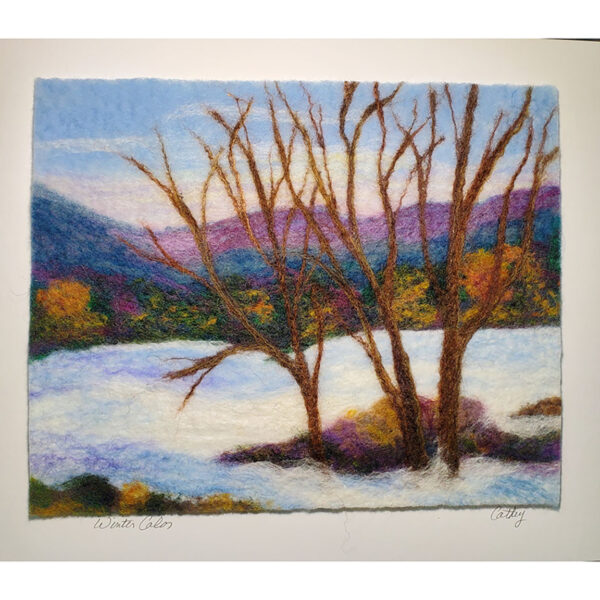 winter color felted mountain landscape