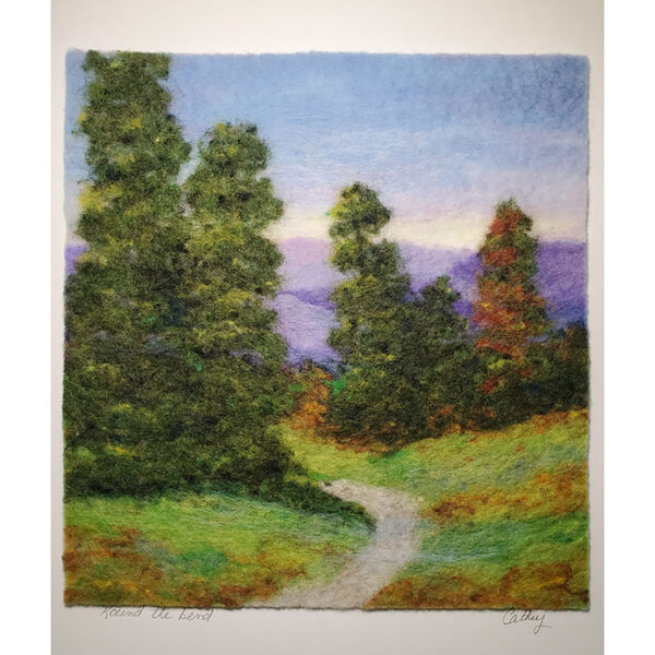 Round the bend mountain felted landscape with evergreen trees and a walking path