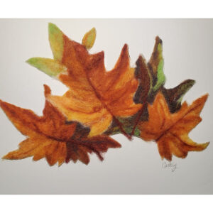 felted fall leaves on matt board