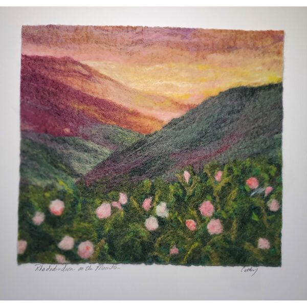Rhododendron mountain felted landscape with sunset