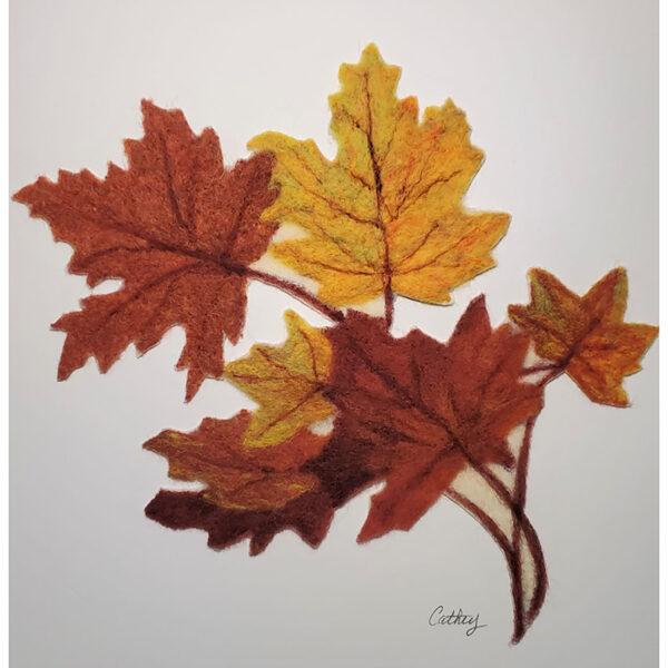 fall maple leaves felted on matt board