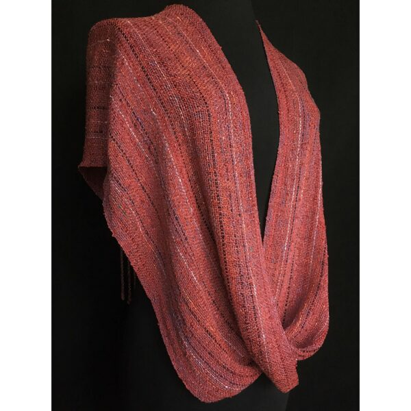 strawberry colored handwoven swoop shawl