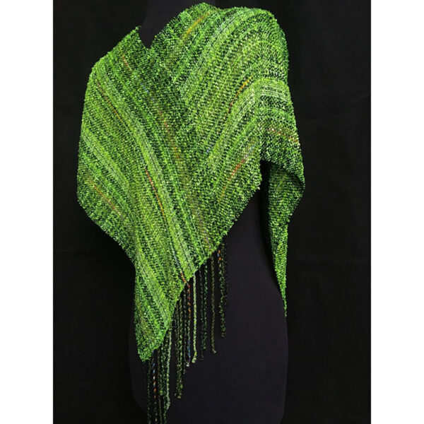 back view of green handwoven swoop poncho