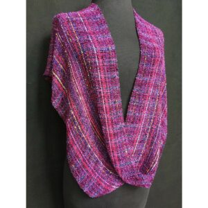 fuchsia colored handwoven cotton swoop poncho