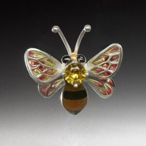 colorful enameled bee pin