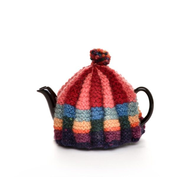 colorful hank knit teapot cozy