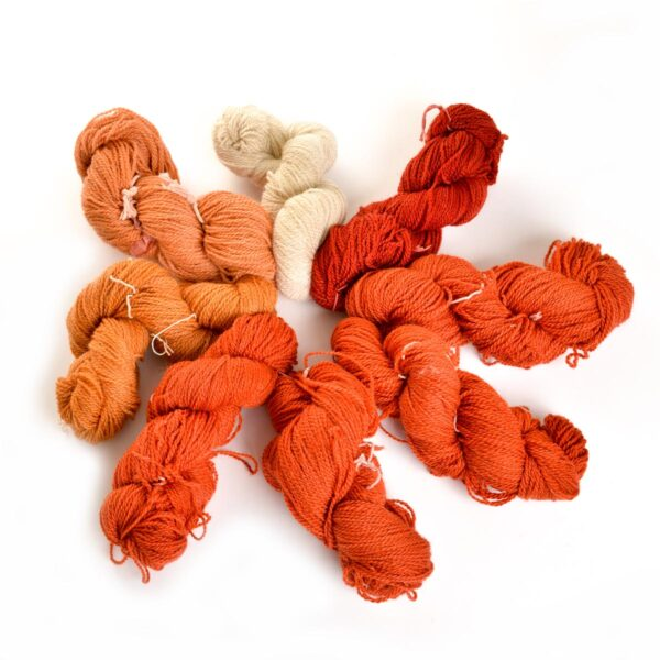 handspun naturally dyed yarn, red hand dyed yarn,
