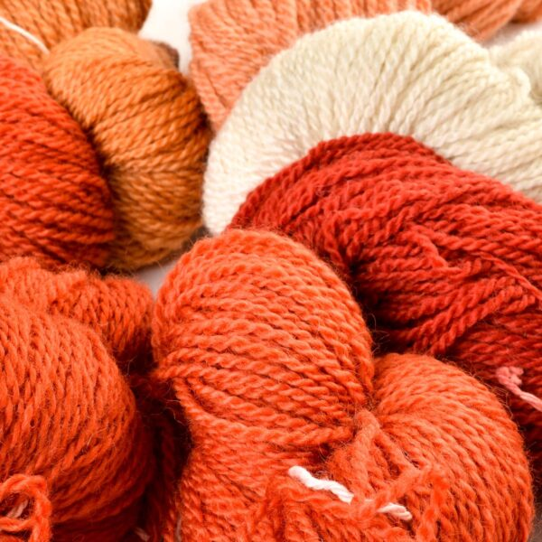 naturally dyed red madder hand spun yarn