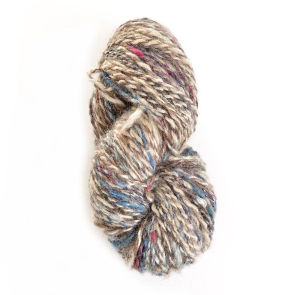 gray white blue and purple hand spun naturally dyed yarn