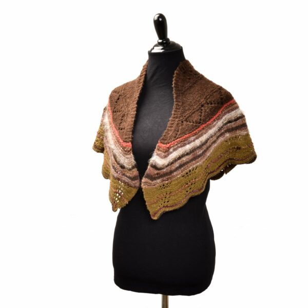 hand knit brown and green shawl, natural dyed hand spun yarn shawl