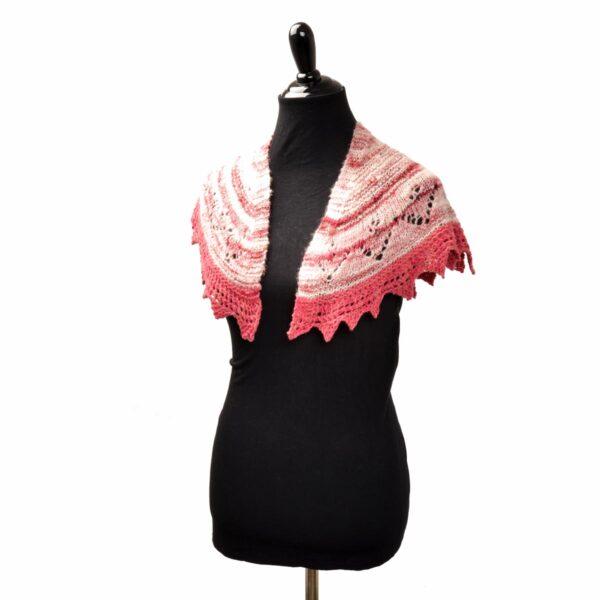 pink and white naturally dyed hand spun yarn small shawl