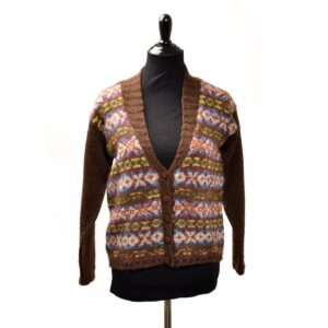 hand knit brown cardigan made using hand spun yarn and bakelite buttons