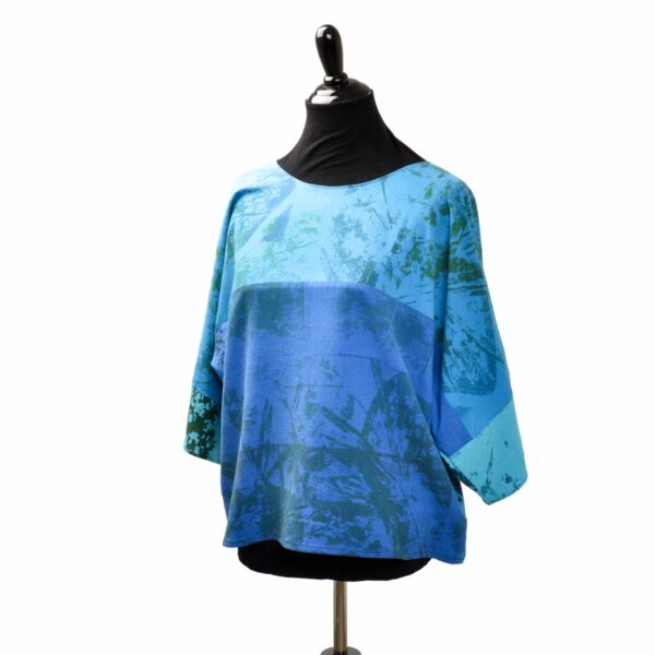 blue handmade raw silk silk screened boxy top