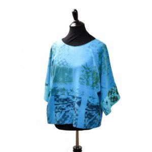blue handmade raw silk silk screened boxy top