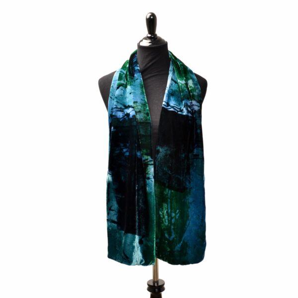 blue and green dyed and printed handmade velvet scarf