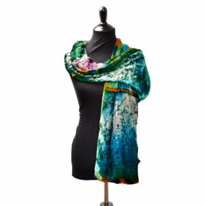 rainbow dyed handmade velvet scarf