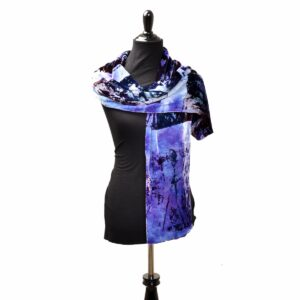 purple dyed and printed handmade velvet scarf