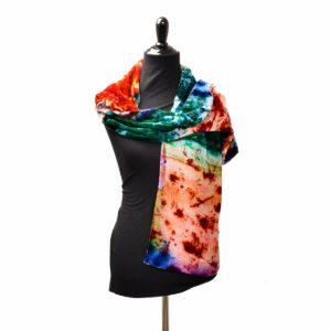rainbow dyed velvet scarf