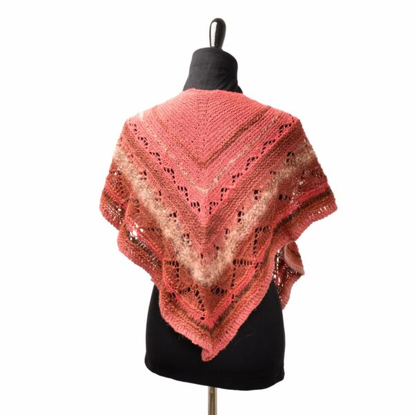back view of red and pink handmade shawl using hand dyed and hand spun yarn
