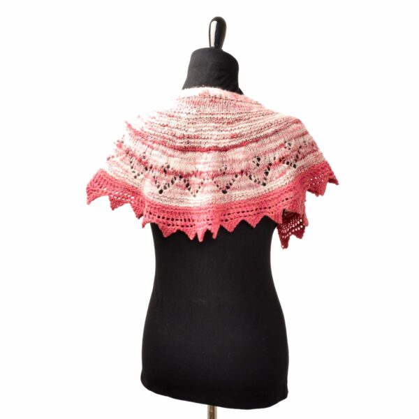 back view of pink and white naturally dyed hand spun yarn small shawl