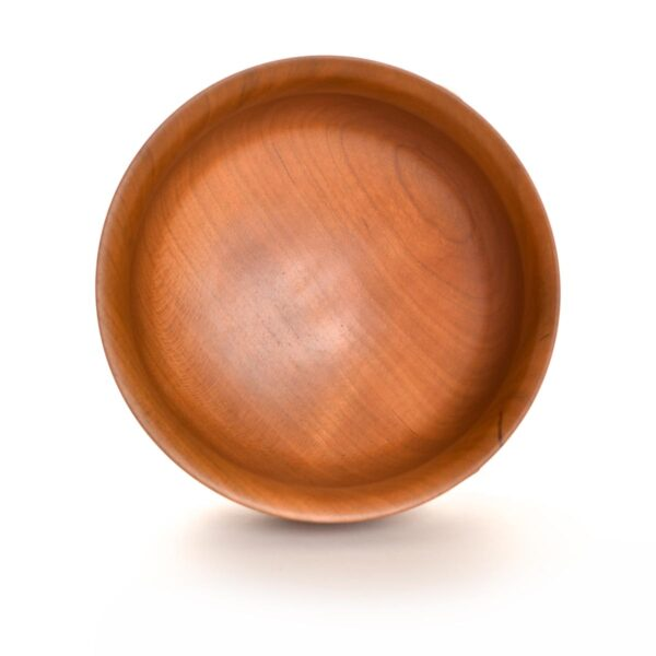 inside view of turned cherry bowl with burned petal design