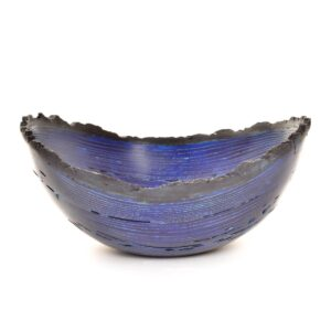 blue dyed wormy ash live edge bowl