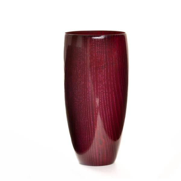 deep red dyed ash turned vase