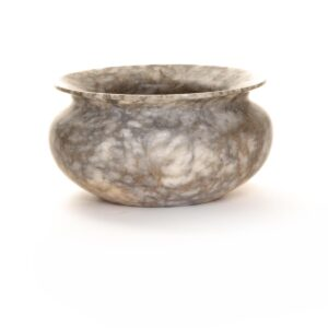 mottled gray alabaster turned vessel