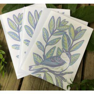 linocut handmade bird notecards