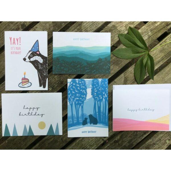 mountain birthday cards, handmade birthday cards