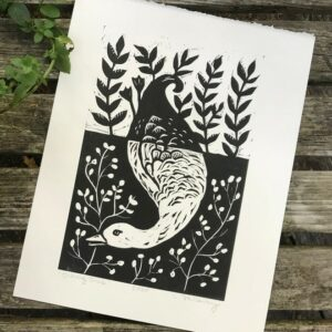 diving bird woodcut print