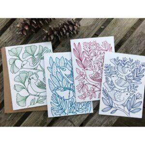 colorful handmade bird notecards, handmade blank bird cards