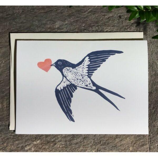 handmade woodcut card with swallow and heart, handmade love card